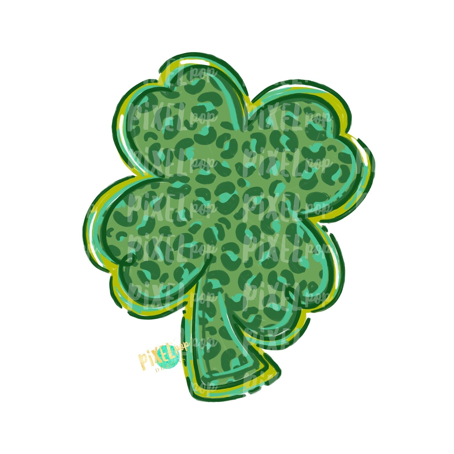 Leopard Clover Saint Patrick's Day PNG | Four Leaf Clover Art | Hand Painted Art | Digital Art | Printable | St. Paddy's Day Sublimation
