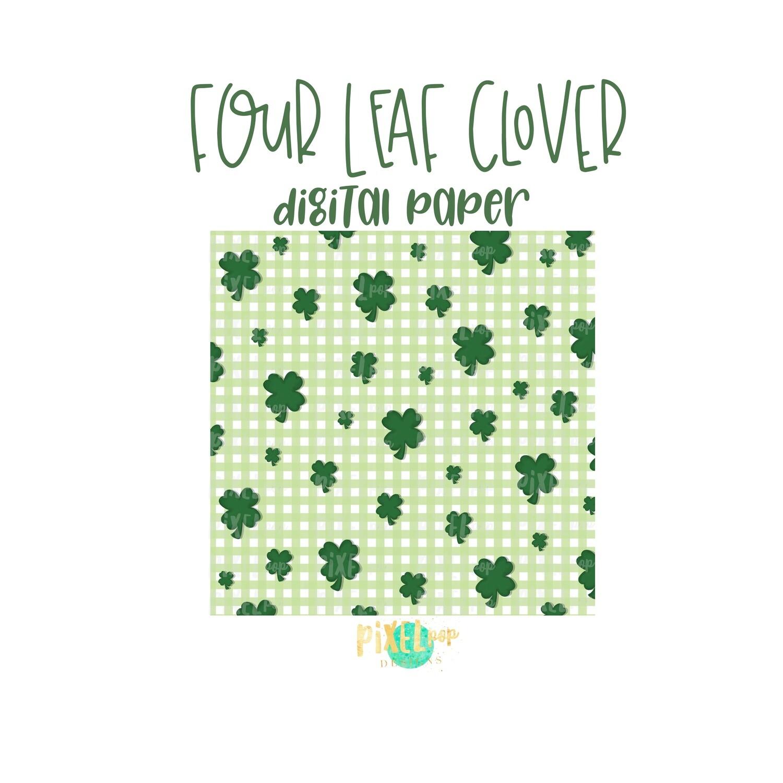 Four Leaf Clover St. Patrick's Day Digital Paper PNG | Animal Print | Sublimation PNG | Digital Download | Digital Scrapbooking Paper