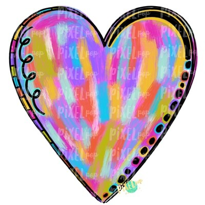 Painted Heart Valentine PNG | Heart Design | Painted Valentine Heart | Painted Heart | Hand Painted Art | Digital Design | Printable Art