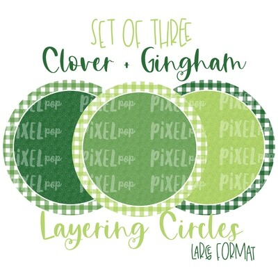 Clover and Gingham Digital Circle Set of Three PNG | St. Patrick's Day Background Set | Sublimation | Printable Artwork | St. Paddy Clip Art