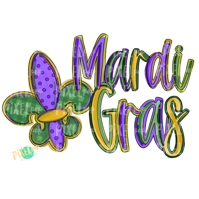 Mardi Gras Fleur de Lis PNG | Mardi Gras Design | New Orleans Art | Hand Painted Design | Mardi Gras Design | Digital Download | Clip Art