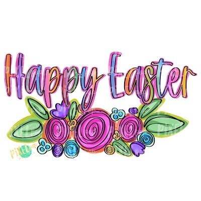 Happy Easter with Doodled Florals PNG | Easter PNG | Doodle Flowers | Easter Digital | Easter Clip Art | Holiday Art | Flower PNG | Digital