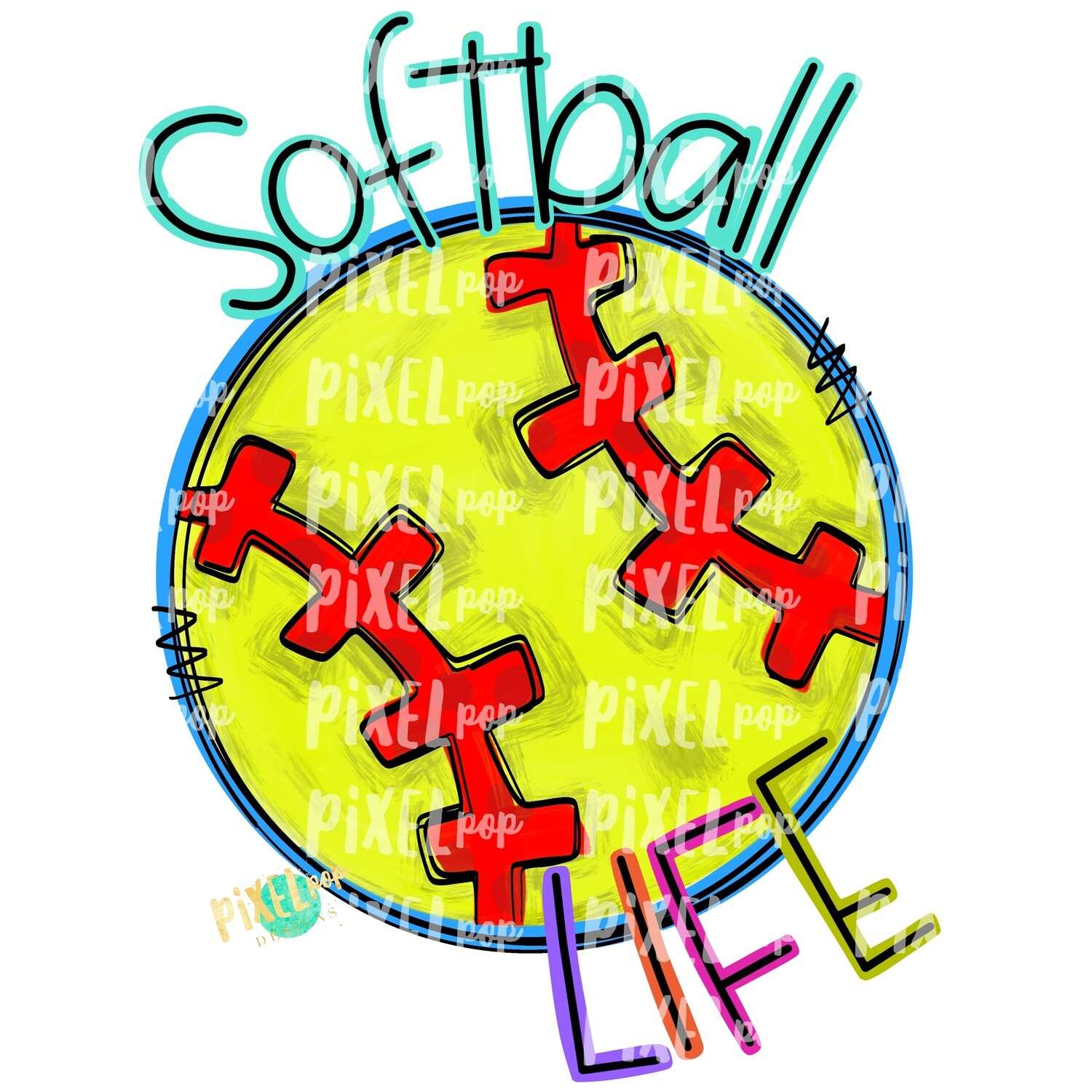 Softball Life PNG | Softball Design | Painted Softball | Sotball Sublimation Design | Heat Transfer | Digital Download | Printable Artwork