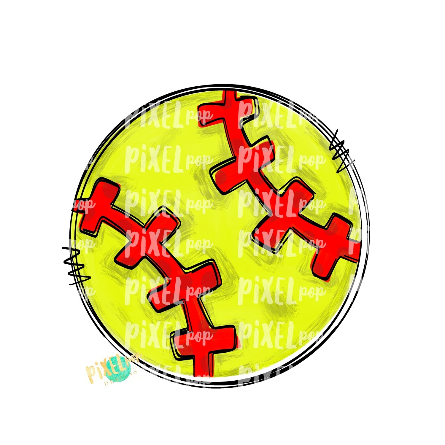 Softball Doodle PNG | Softball Design | Painted Softball | Sotball Sublimation Design | Heat Transfer | Digital Download | Printable Artwork
