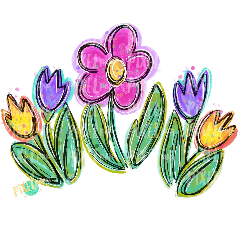 Painted Spring Flowers PNG | Painted Flowers | Spring Flower Sublimation Design | Heat Transfer PNG | Digital Download | Printable Art