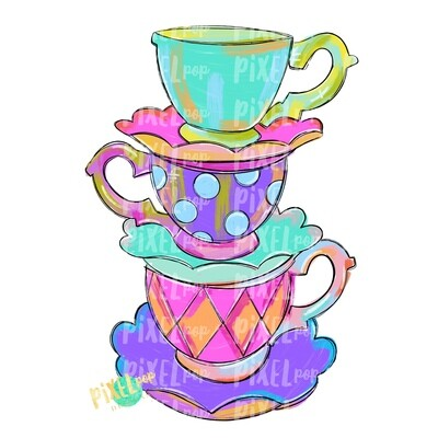 Funky Tea Cups PNG | Stacked Tea Cups | Tea Time | Tea Cup Art | Tea Cup Clipart | Tea Party | Tea PNG | Tea Art | Tea Sublimation Art