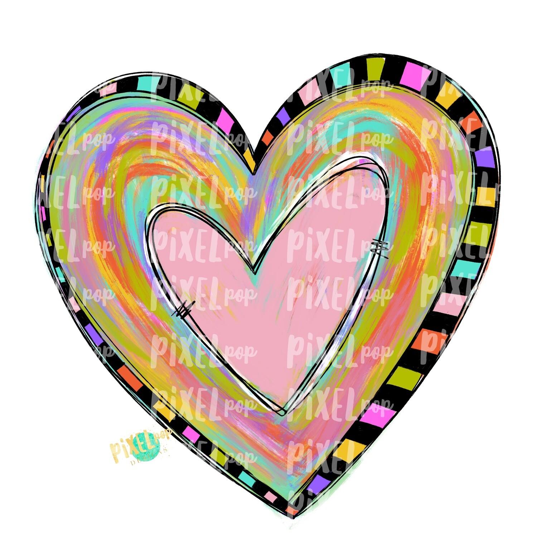 Paint Stroke Heart PNG | Funky Painted Heart | Valentine Heart | Painted Heart Design | Hand Painted Art | Digital Design | Printable Art