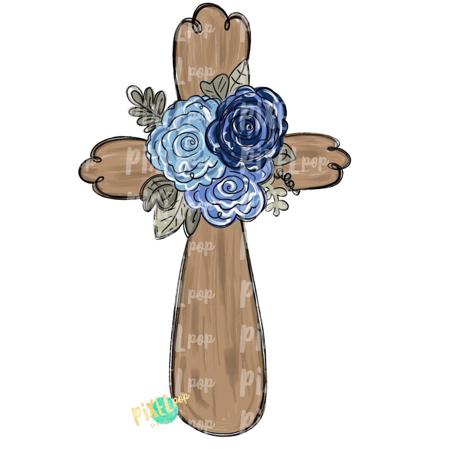 Cross With Blue Flowers PNG | Cross | Cross Clip Art | Religious Art | Sublimation PNG | Digital Download | Printable Artwork | Art