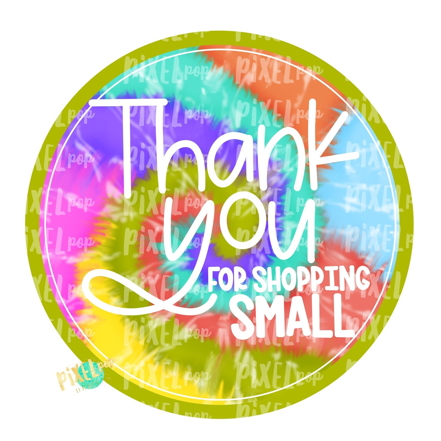 Thank You for Shopping Small Circle Tie Dye PNG | Business Clip | Small Business Marketing Image | Small Business Sticker Art | Business Art