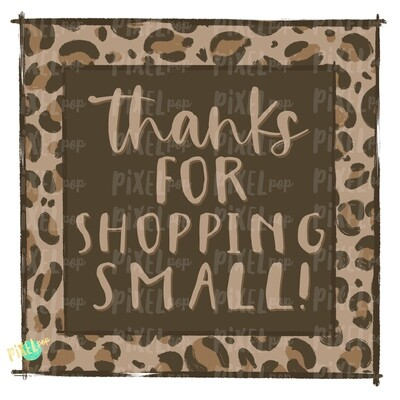 Thank You for Shopping Small Square Leopard PNG | Business Clip | Small Business Marketing Image | Small Business Sticker Art | Business Art