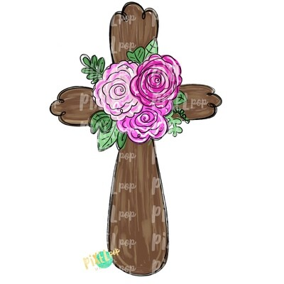 Cross With Pink Flowers PNG | Cross | Cross Clip Art | Religious Art | Sublimation PNG | Digital Download | Printable Artwork | Art