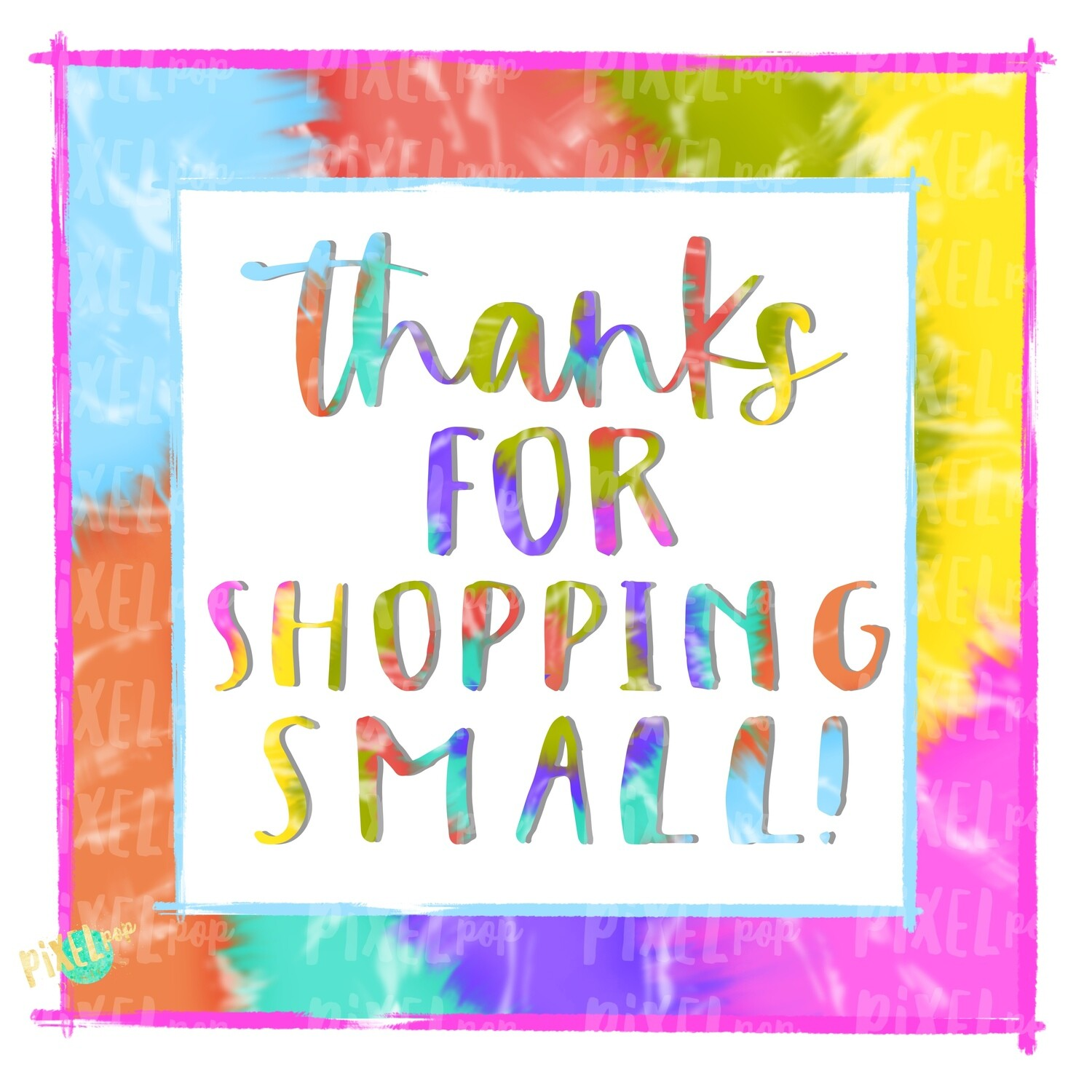 Thank You for Shopping Small Square Tie Dye PNG | Business Clip | Small Business Marketing Image | Small Business Sticker Art | Business Art