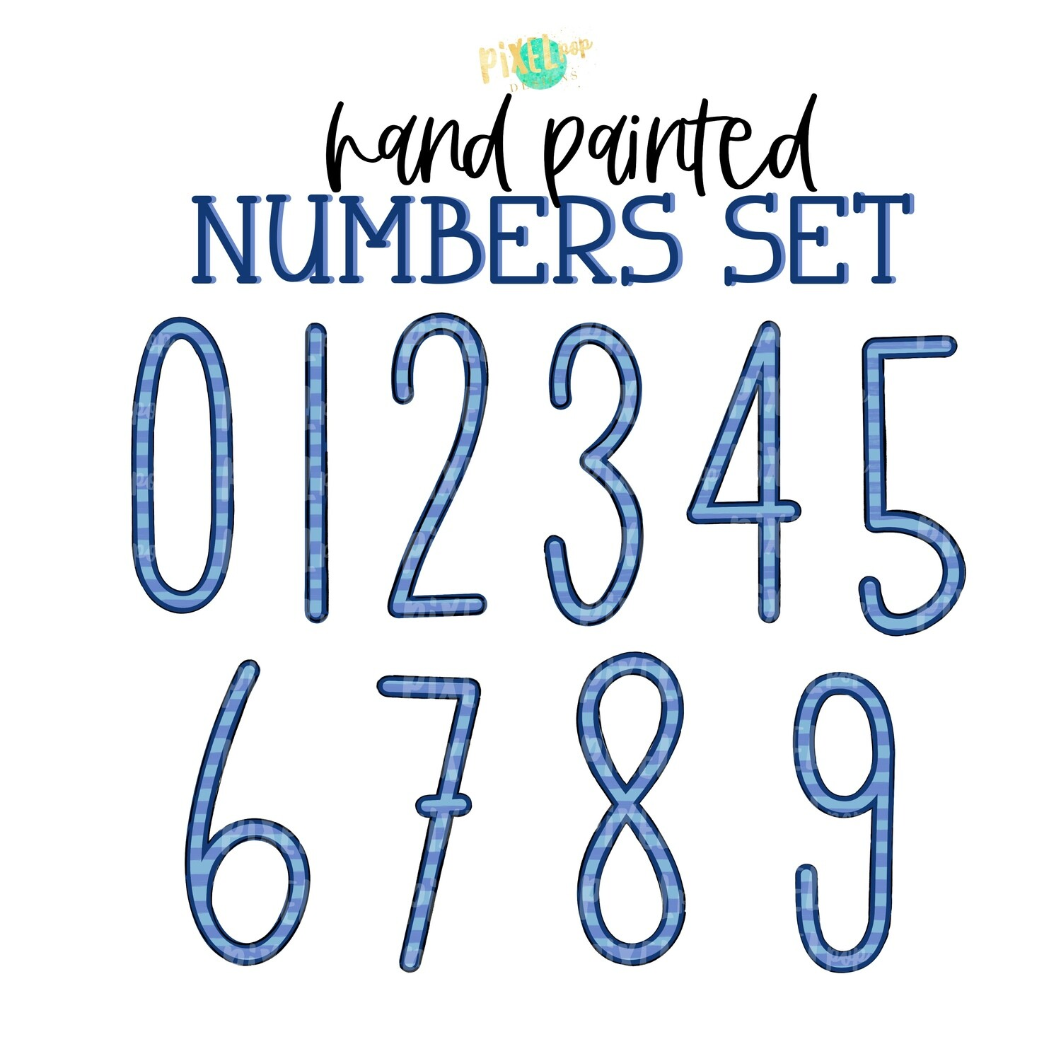 Blue Stripe Hand Painted Numbers PNG Set of 10 | Number Set | Sublimation Doodle Numbers | Print and Press Transfer Numbers Set