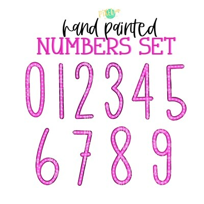 Pink Dot Hand Painted Numbers PNG Set of 10 | Number Set | Sublimation Doodle Numbers | Print and Press Transfer Numbers Set