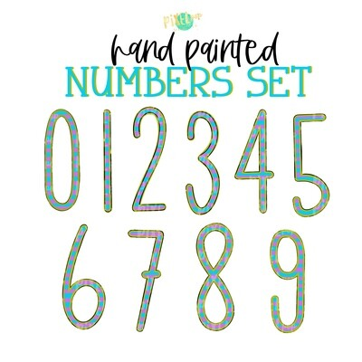 Purple Lime and Turquoise Stripe Hand Painted Numbers PNG Set of 10 | Number Set | Doodle Numbers | Print and Press Transfer Numbers Set