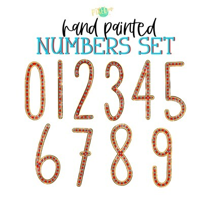 Red Yellow Turquoise Dot Hand Painted Numbers PNG Set of 10 | Number Set | Sublimation Doodle Numbers | Print and Press Transfer Numbers Set