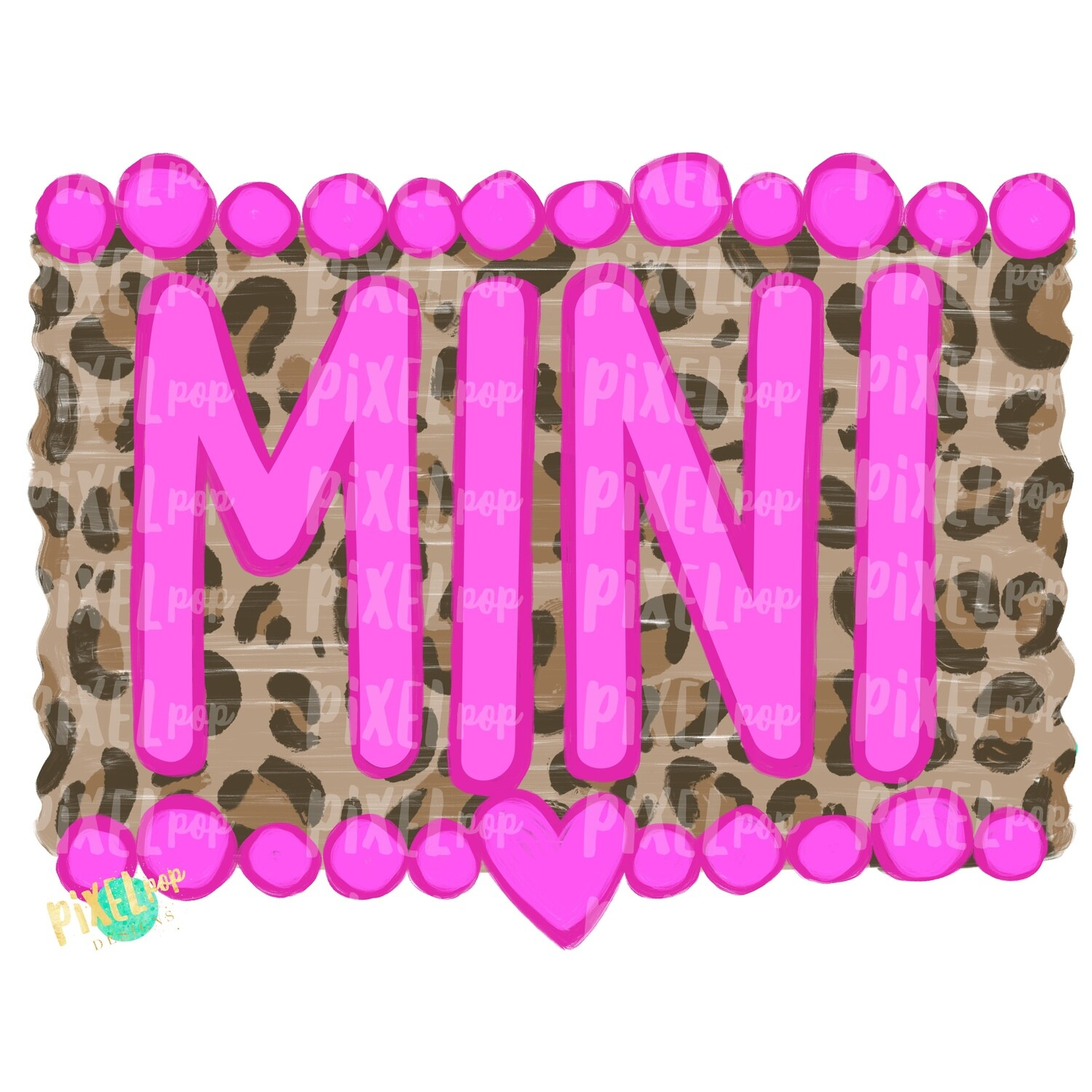 Mini Pinks and Leopard Print PNG | Sublimation Art | Daughter Design | Painted PNG | Sublimation PNG | Digital Download | Mother's Day | Art