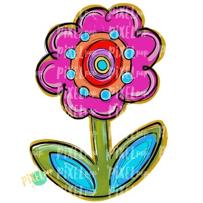 Bright and Funky Flowers PNG | Flower | Painted Flower | Spring Flower Sublimation | Hand Painted Digital Art | Digital Design | Printable