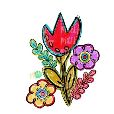 Bright Funky Cluster of Flowers PNG | Flower | Painted Flower | Spring Flower Sublimation | Hand Painted Art | Digital Design | Printable
