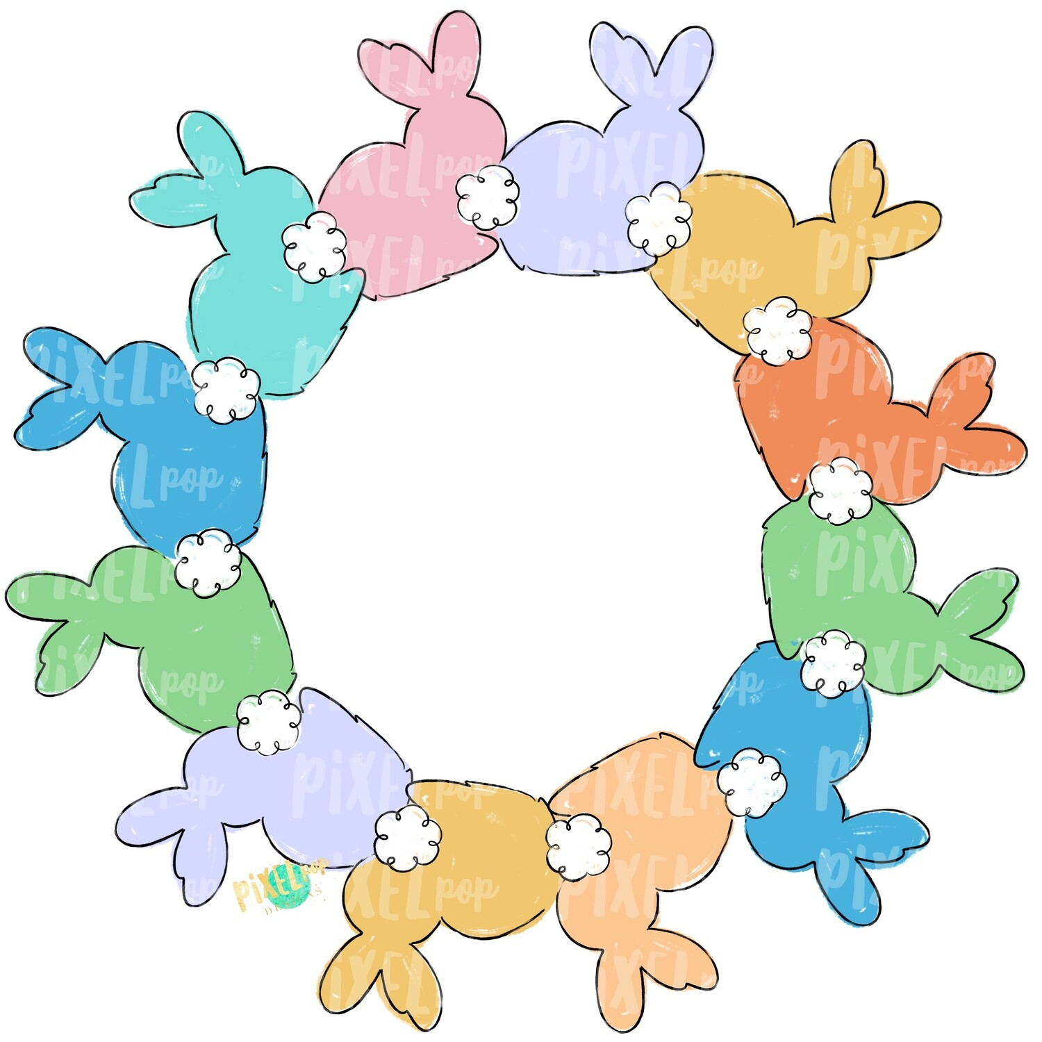 Bunnies in Circle Wreath PNG | Easter Bunny | Easter | Rabbit | Hop | Bunny PNG | Bunny Design | Bunny Tail | Easter Design | Easter PNG