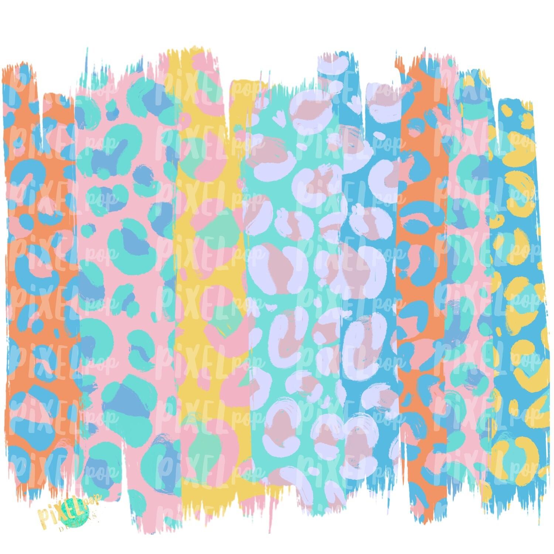 Pastel Leopard Print Brush Stroke Background PNG | Leopard Print Digital Paper | Leopard Digital Background | Easter Leopard Print Paper