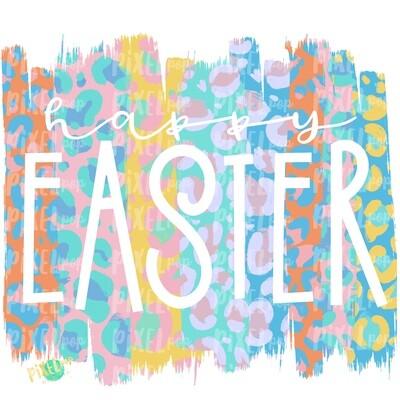 Happy Easter Pastel Leopard Brush Stroke PNG | Happy Easter | Art | Leopard Brush Strokes | Hand Painted | Digital Background | Printable