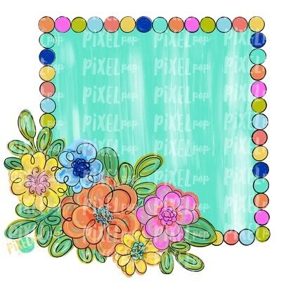 Square Floral Frame Blank PNG | Flower Frame | Sublimation Design | Flowers on Frame PNG | Digital Download | Printable Art | Digital Art