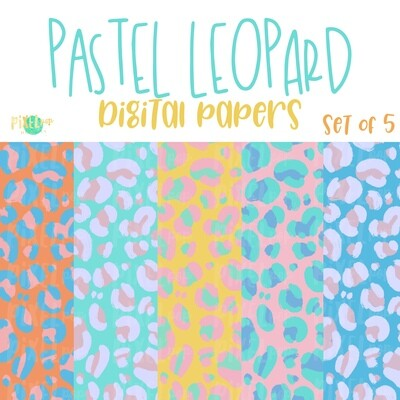 Pastel Leopard Print Digital Paper Set of Five PNG | Hand Painted Art | Sublimation PNG | Digital Download | Digital Scrapbooking Paper