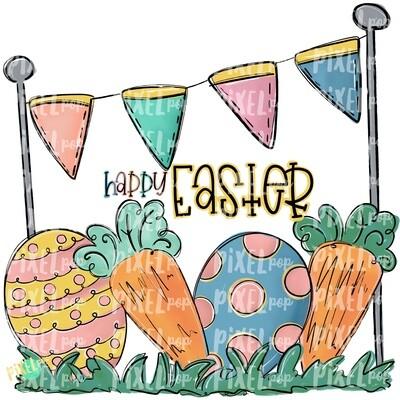 Easter Scene Happy Easter PNG | Easter Design | Easter Digital Art | Easter Egg and Carrot | Easter Clip Art | Easter | Egg | Carrot | Art