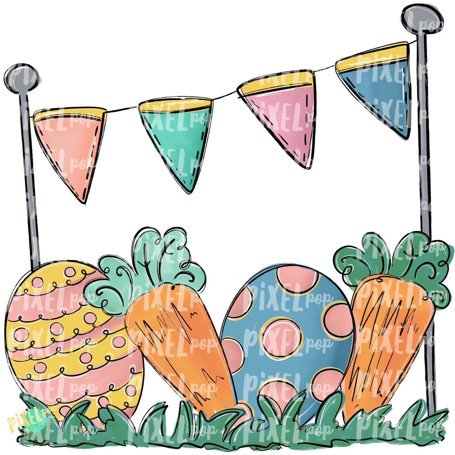 Easter Scene PNG | Easter Design | Easter Digital Art | Easter Egg and Carrot | Easter Clip Art | Easter | Egg | Carrot | Art