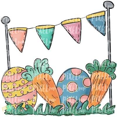 Easter Scene PNG | Easter Design | Easter Digital Art | Easter Egg and Carrot | Easter Clip Art | Easter | Egg | Carrot | Art