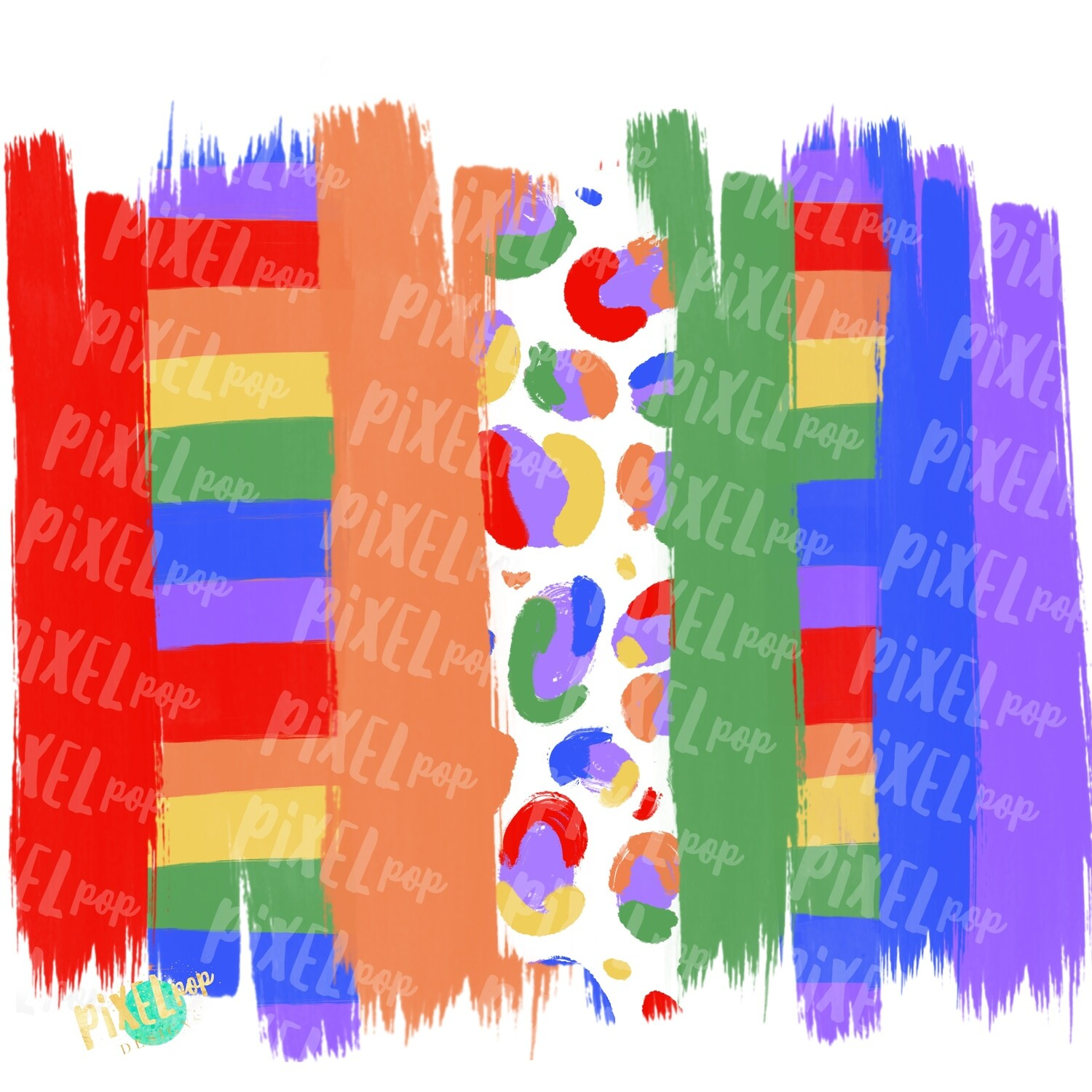 Rainbow with Stripes and Leopard Brush Stroke Background PNG | Brush Strokes | Rainbow | Digital Background | Digital Wallpaper | Art