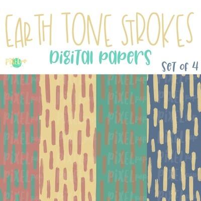 Earth Tone Brush Stroke Digital Papers Set of 4 PNG | Hand Painted Art | Sublimation PNG | Digital Download | Digital Scrapbooking Paper