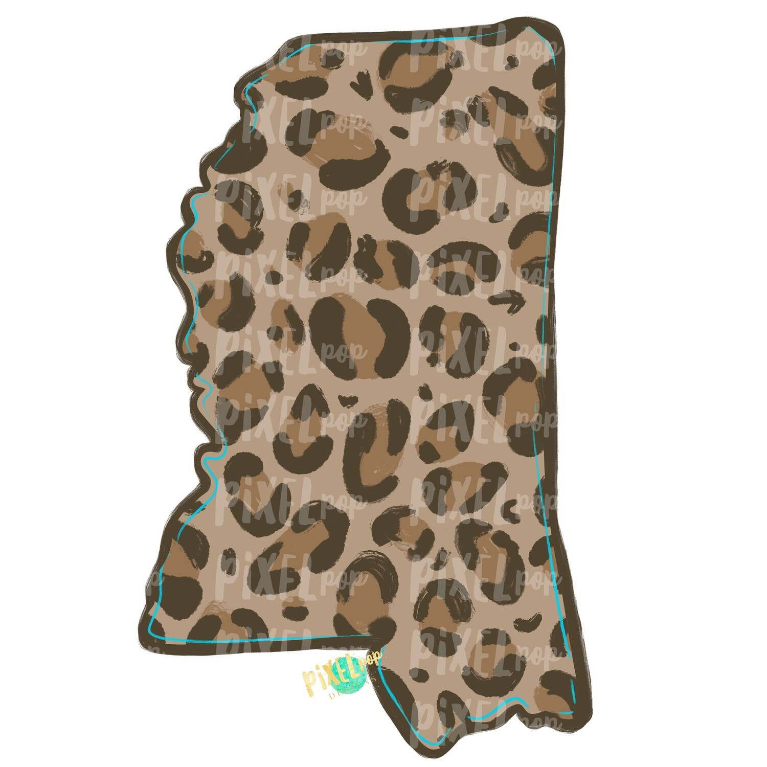 State of Mississippi Shape Turquoise and Leopard PNG | Mississippi | Home State | Sublimation Design | Heat Transfer | Digital | Leopard Print