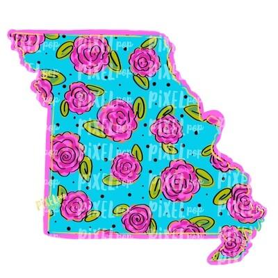State of Missouri Shape Blue Floral PNG | Missouri | Home State | Sublimation Design | Heat Transfer | Digital | Flower Background