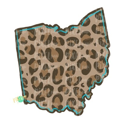 State of Ohio Shape Turquoise and Leopard PNG | Ohio | Home State | Sublimation Design | Heat Transfer | Digital | Leopard Print