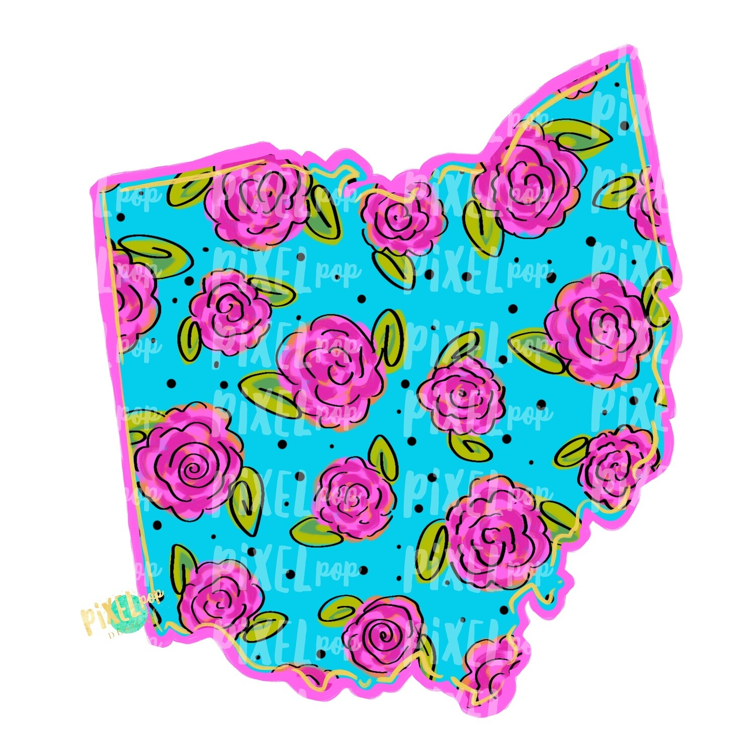 State of Ohio Shape Blue Floral PNG | Ohio | Home State | Sublimation Design | Heat Transfer | Digital | Flower Background