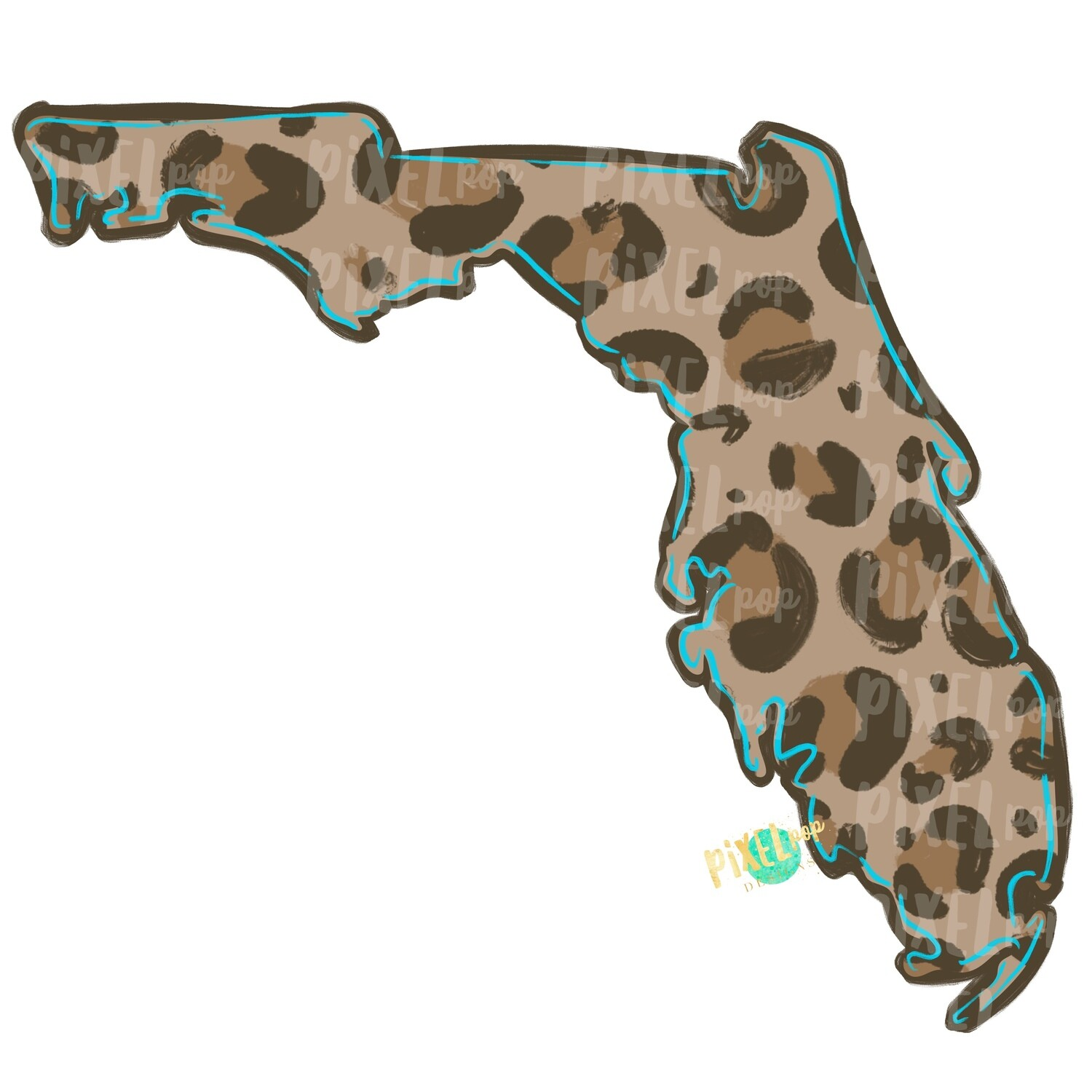 State of Florida Shape Turquoise and Leopard PNG | Florida | Home State | Sublimation Design | Heat Transfer | Digital | Leopard Print