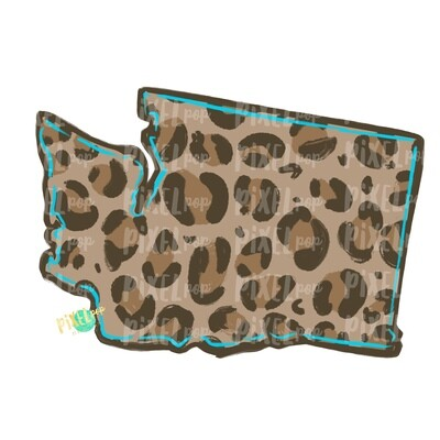 State of Washington Shape Turquoise and Leopard PNG | Washington | Home State | Sublimation Design | Heat Transfer | Digital | Leopard Print