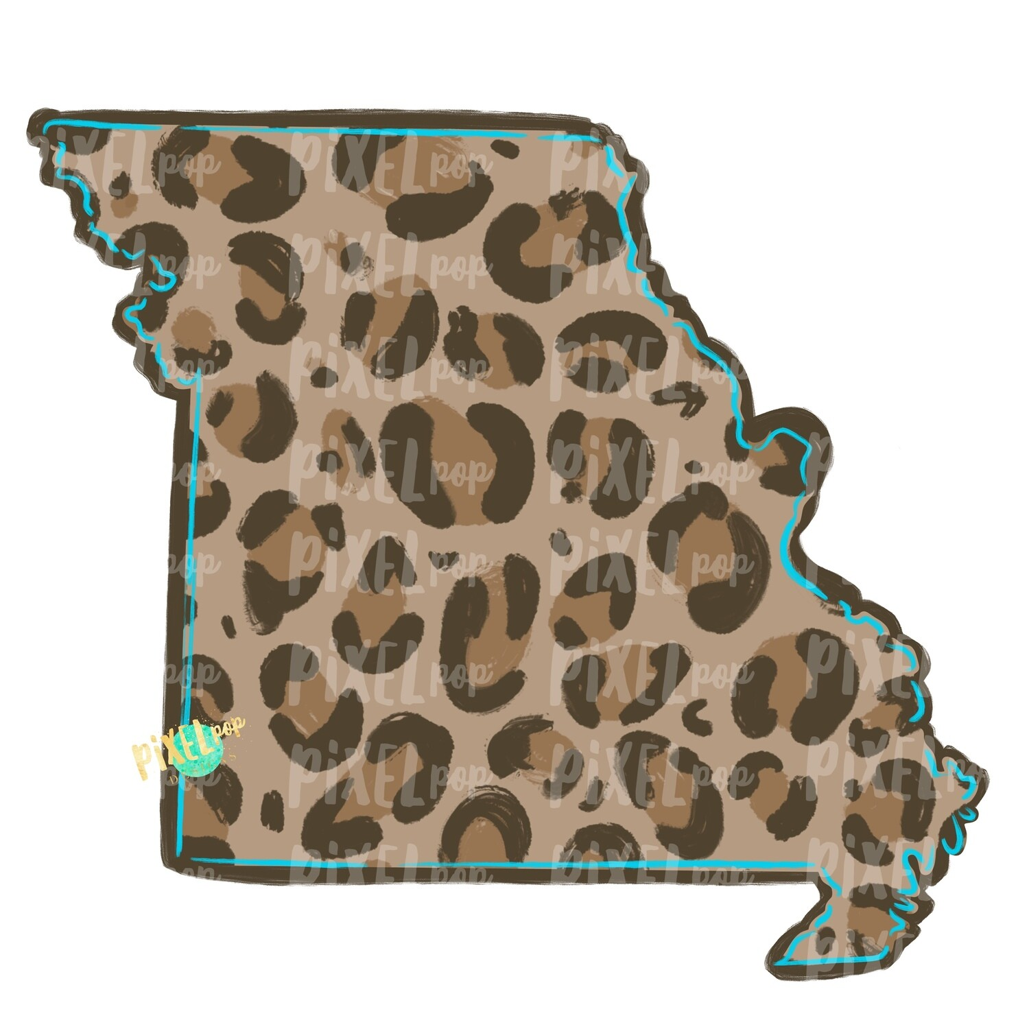 State of Missouri Shape Turquoise and Leopard PNG | Missouri | Home State | Sublimation Design | Heat Transfer | Digital | Leopard Print