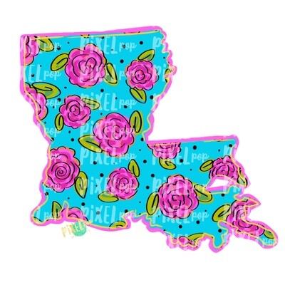 State of Louisiana Shape Blue Floral PNG | Louisiana | Home State | Sublimation Design | Heat Transfer | Digital | Flower Background