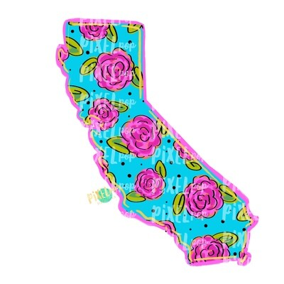State of California Shape Blue Floral PNG   California State   Home State   Sublimation Design   Heat Transfer   Digital   Flower Background