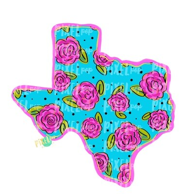 State of Texas Shape Blue Floral PNG | Texas | Home State | Sublimation Design | Heat Transfer | Digital | Flower Background