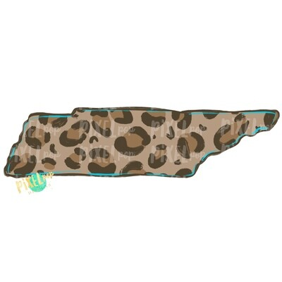 State of Tennessee Shape Turquoise and Leopard PNG | Tennessee | Home State | Sublimation Design | Heat Transfer | Digital | Leopard Print
