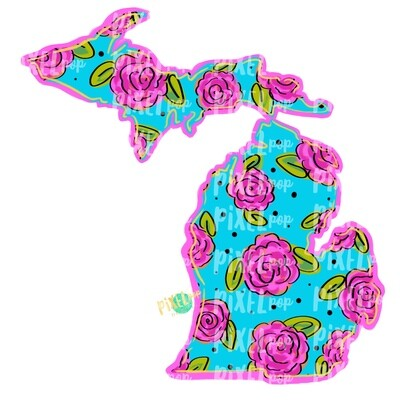 State of Michigan Shape Blue Floral PNG | Michigan | Home State | Sublimation Design | Heat Transfer | Digital | Flower Background