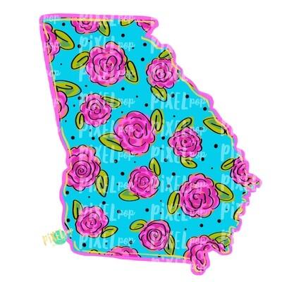 State of Georgia Shape Blue Floral PNG | Georgia | Home State | Sublimation Design | Heat Transfer | Digital | Flower Background
