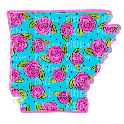 State of Arkansas Shape Blue Floral PNG | Arkansas | Home State | Sublimation Design | Heat Transfer | Digital | Flower Background
