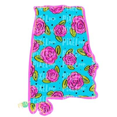 State of Alabama Shape Blue Floral PNG | Alabama | Home State | Sublimation Design | Heat Transfer | Digital | Flower Background