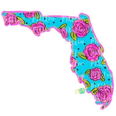 State of Florida Shape Blue Floral PNG | Florida | Home State | Sublimation Design | Heat Transfer | Digital | Flower Background