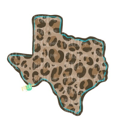 State of Texas Shape Turquoise and Leopard PNG | Texas | Home State | Sublimation Design | Heat Transfer | Digital | Leopard Print